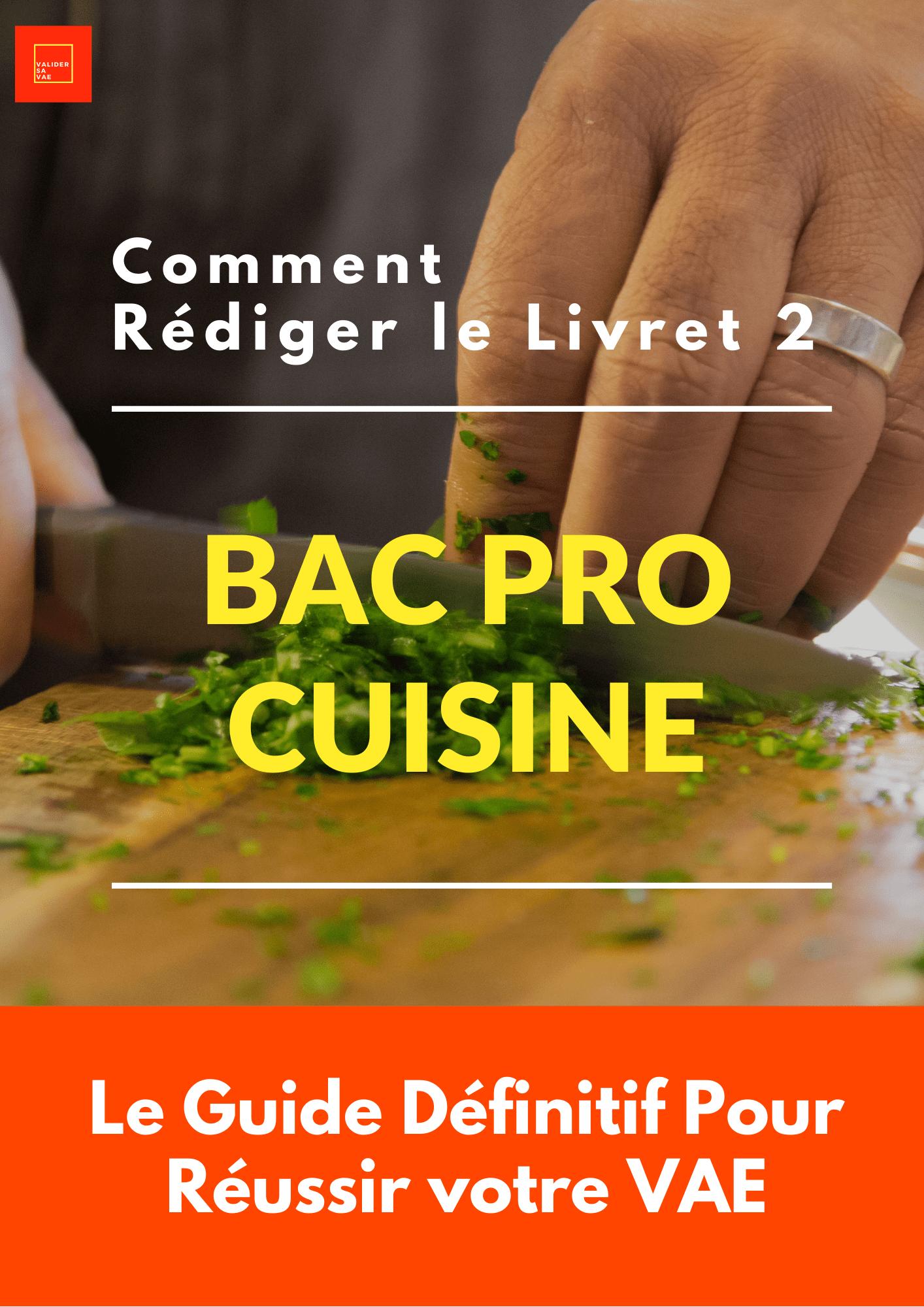 Livret 2 VAE Bac Pro Cuisine